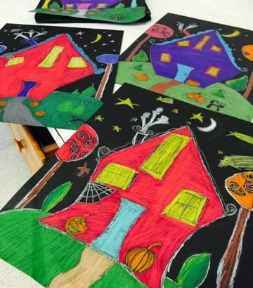 Haunted Houses on Black Paper!